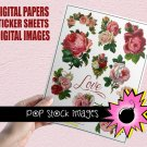 Victorian Roses Valentine Creative Kit-Digital Diecut Roses-Roses Sticker Sheet-Digital Papers-