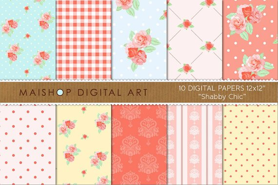Digital Paper - Shabby Chic - vintage print