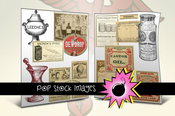 APOTHECARY Labels - vintage print