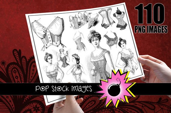 CORSETS Digital Images - 110 Digital vintage print