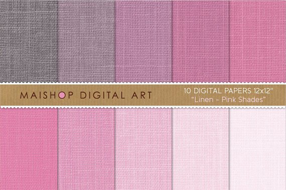 Digital Paper Linen-Pink Shades-BrightBabyDesaturated Pink-Decoupage PaperCollagesDiy Crafts