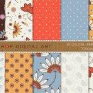 Digital Paper Floral-Chiusca-RedBlueOrg Digital Sheets for Card MakingScrapbook