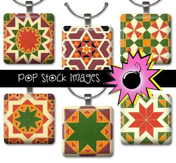 1 Inch Squares QUILT BLOCKS Collage Sheet-print for PendantsMagnets