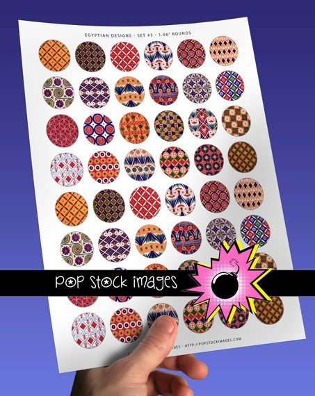 1 Inch Rounds EGYPTIAN DESIGNS Collage Sheet Set 3-print for PendantsMagnets