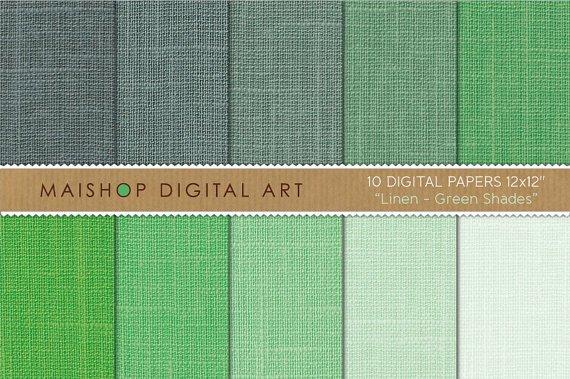 Digital Paper Linen-Grn Shades-Linen Texture Backgrounds for KeepsakeDIY CraftsScrapbook