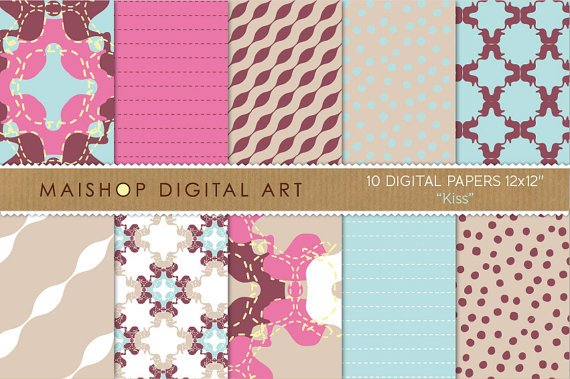 Digital Paper-Kiss-Hot Pink,Maroon,Celeste,Abstract,Dotted,Striped print Backgrounds