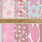 Digital PaperII-Blue,BrwPink Yellow Polka DotsFish ScalesFloralLeaves PatternsImg.