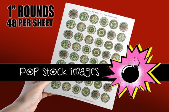 1 Inch Circles Collage Sheet-print Round Img. for PendantsMagnets Stickers
