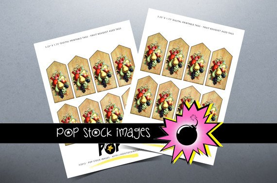 Fruit Bouquet Aged Digital Printable Tags Print Your Own Tags F Fruits
