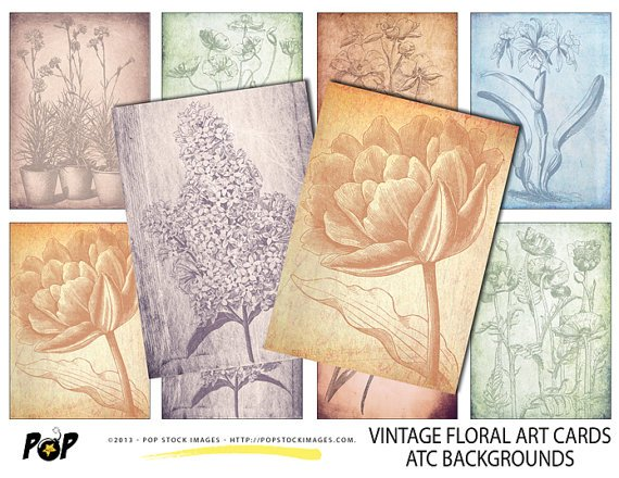 VINTAGE Floral Art Cards ATC ACEO Backgrounds