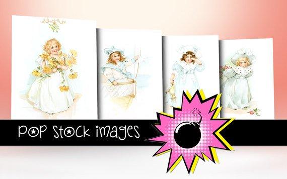 Vintage Little Girls Watercolor Digital Images - vintage print