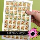 1 Inch Squares Paris Floral Collage Sheet-print for PendantsMagnets