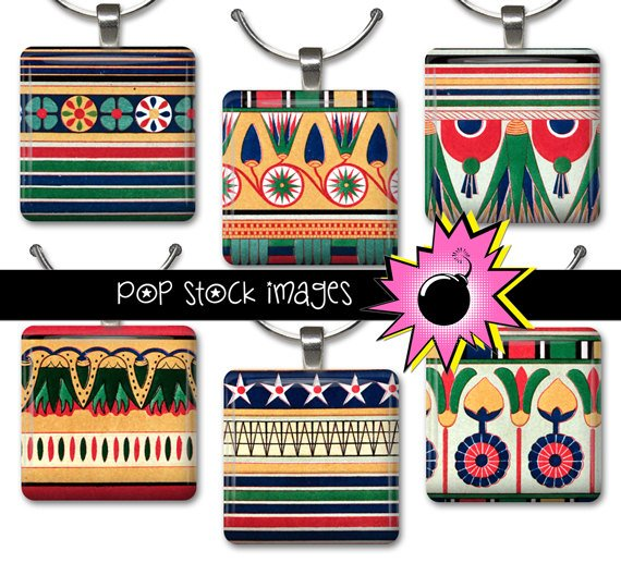 1 Inch Squares EGYPTIAN DESIGNS Collage Sheet-print for PendantsMagnets & Wine Charms-EGYPT