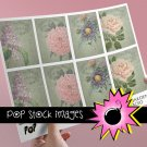 French Flower Garden print ATC or Tag Sheet-Print Your Own TagsACEO or ATC-Pastel Flowers