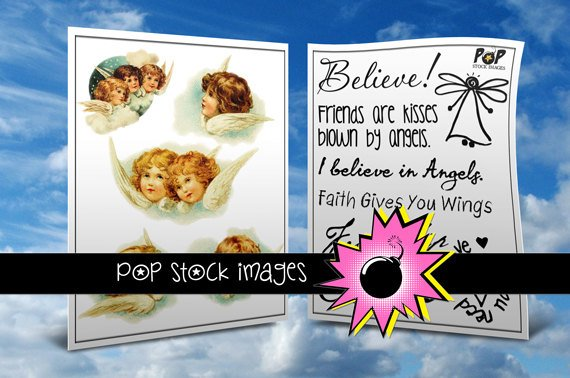 Vintage Angels Digital Img.-Digital Clipart of Angels Bonus Phrase Collage Sheet-
