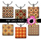 1 Inch Squares TAN & RED QUILT Blocks Collage Sheet