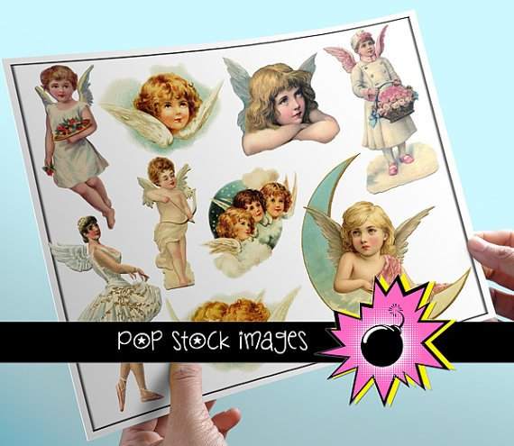 Vintage Angels Digital Image Set Assorted Angel Digital Clipart