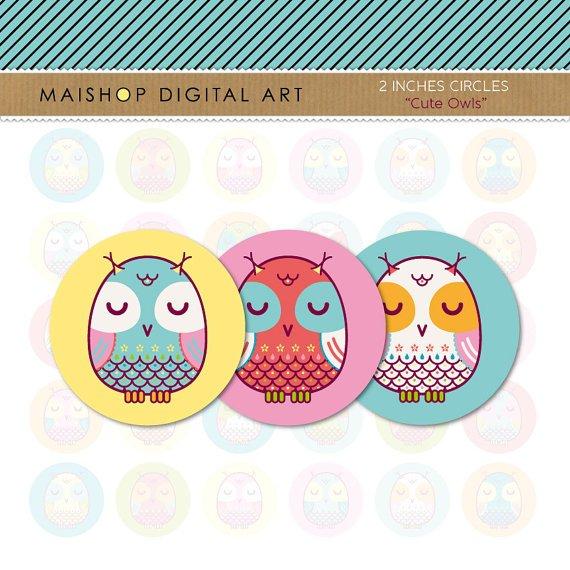 2 inch Circles Owls - Digital Collage Sheets Circles - Cute Owls