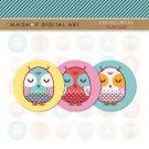 2 inch Circles Owls - Digital Collage Sheets Circles - Cute Owls
