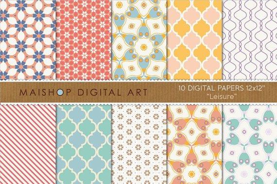 Digital Paper-Leisure-RedBlueYellow Wh FloralStripes Moroccan PatternsingGift WrappingCard Making