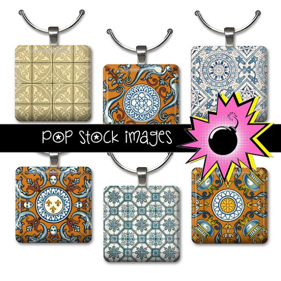 1 Inch Squares Blue Rust Ornamental Collage Sheet