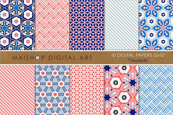 Digital Paper-Saudade-WhBlue Red Geometric print Papers for Paper CraftsCardsScrapbook