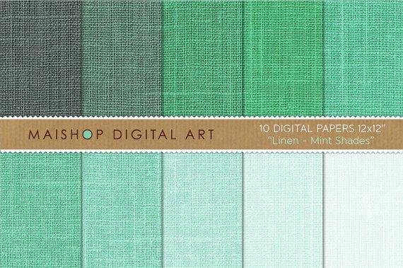 Digital Paper Linen-Mint Shades-GrnEmerald-Decoupage PaperDigital SheetsWrapping Paper