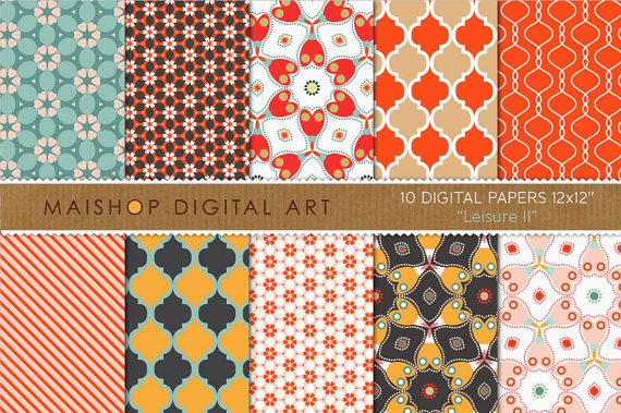 Digital Paper-Leisure II-Red,BrwOrgPinkBlueFloral Geometric Papers for Card Making
