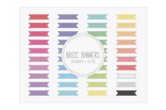 Basic Ribbon Banners Grosgrain Stitch Clip Art
