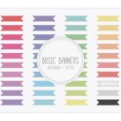 Basic Ribbon Banners Grosgrain Stitch Clip Art