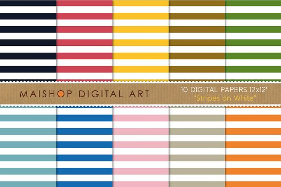 Digital Paper-Stripes on Wh-BlackRedYW,BrwGrnBluPink,OrgStripes Patterned Scrapbook Paper