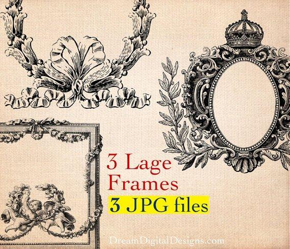 Frames Printable Images, Digital Graphics 3 Large Ornate Vintage Frame s