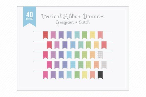 Vertical Ribbon Banners Grosgrain Stitch Clip Art