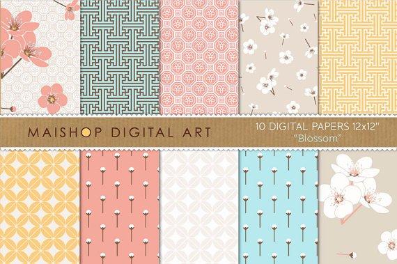 Digital Paper - Blossom - Floral, Geometric Chinese print Patternsing