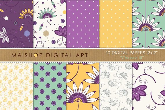 Digital Paper Floral - Chiusca III - Purp, YW, Grn - Patterned Papers