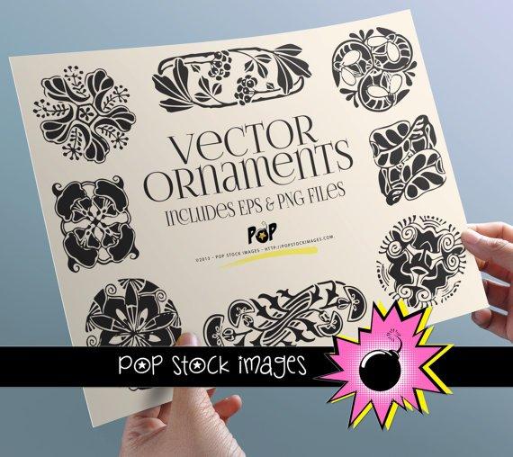 Art Nouveau Black Wh Ornaments-PNG EPS Img. for Altered ArtDigital Scrapbooking-Ornaments