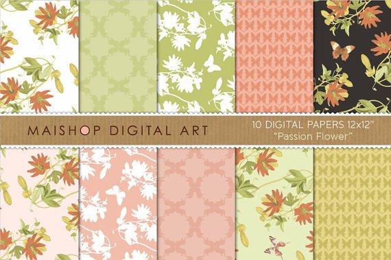 Digital Paper Passion Flower