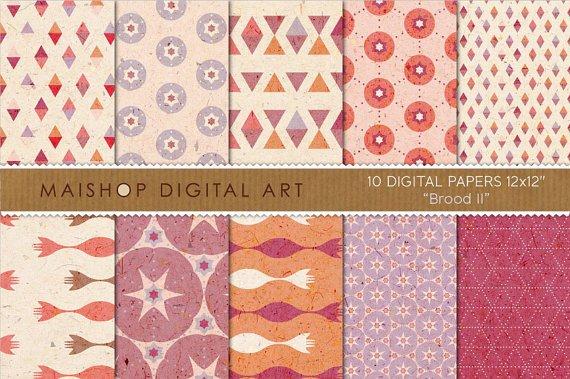 Digital Paper - Brood II - Cream, Lilac, Org, Stars, Triangles, Geometric Papers
