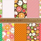 Digital Paper-Fruits-AppleLemon,OrgWatermelonKiwiGrnRedPinkYW,Org Patterned Paper