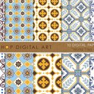 Digital Paper-World Tiles Set 01-Blue,Wh,Mustard ,Brw Seamless HQ Geometric Patternsing