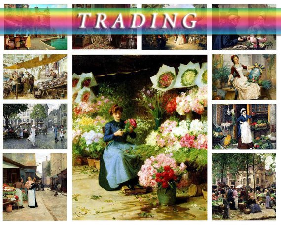 TRADING PEOPLE on 318 vintage paintings of traders images in High Res.