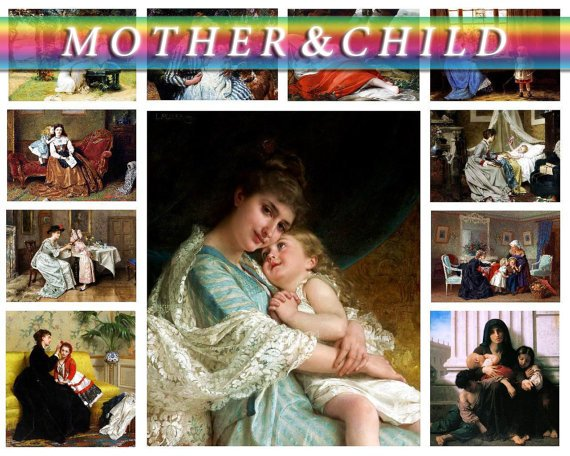 MOTHER ,  CHILD on 175 vintage print