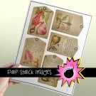 Floral & Fruit Gift Tag Digital Collage Sheet - vintage print