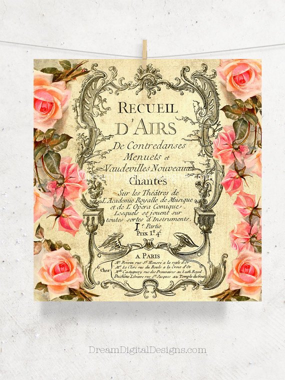 Roses Printable Art, Digital Paper, French Decor, Digital Ephemera Background