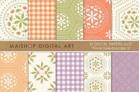 Digital Paper-Floral Kaleidoscope III-GrnLilac,OrgpapersingPrintsCard Making