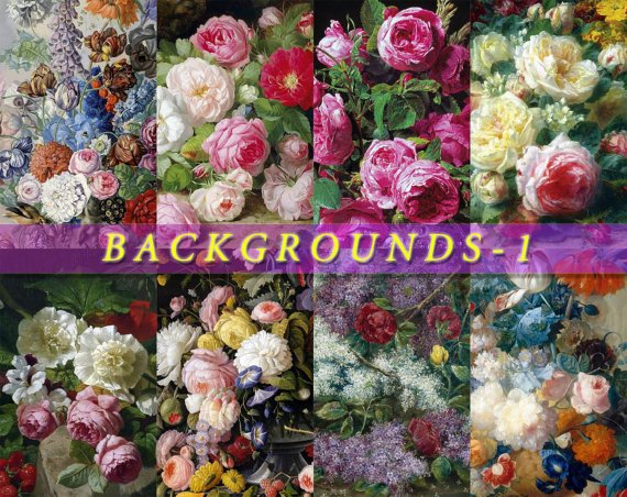 BACKGROUNDS-1 FLOWERS Collection Roses paper pack scrapbook decoupage