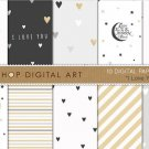 Valentine's Digital Paper-I Love You-Elegant Romantic GrayWh Gold print PapersCard MakingCrafting