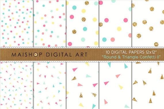 Digital Paper Round & Triangle Confetti II