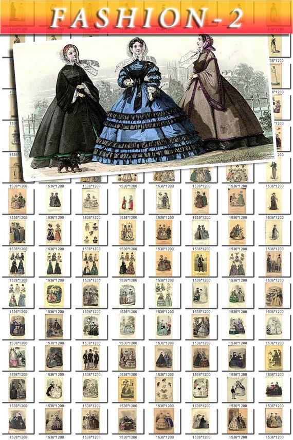 FASHION-2 SKETCHES of 550 vintage print