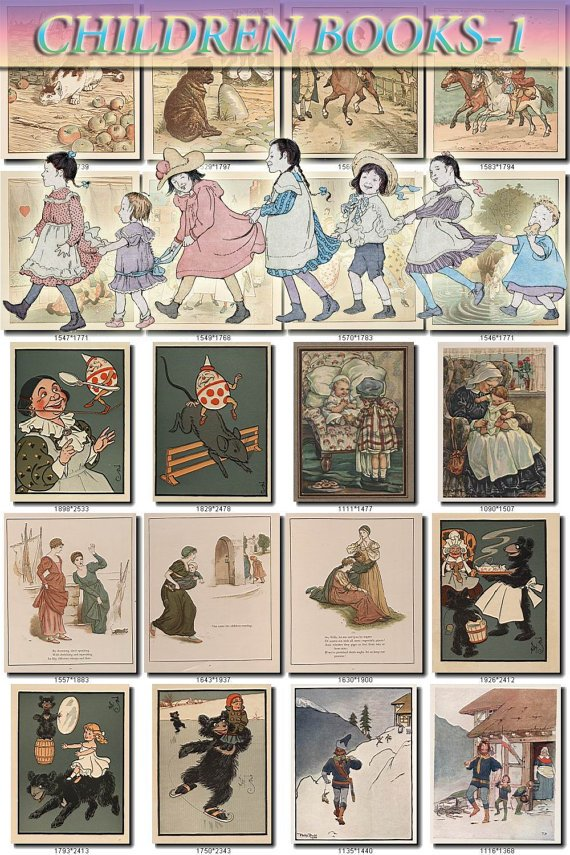 CHILDREN BOOKS-1 illustrations Collection with 265 vintage images High Res.